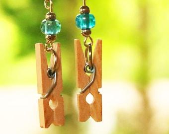 Handmade Wooden Miniature Clothespin Earrings