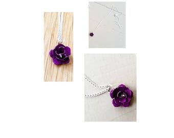 Enchanted Purple Rose Fairy Tale Necklace