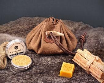 Leather Tinder Pouch Medium - Fire Starting Bushcraft, Survival & Camping Gift Set - Journeyman Edition - Umber Brown