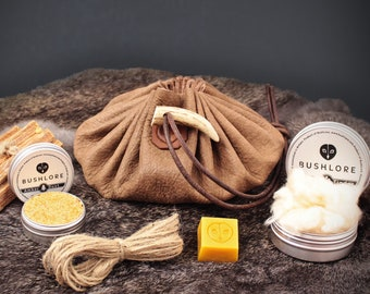 Leather Tinder Pouch Large - Fire Starting Bushcraft Gift Set - Master Edition - Umber Brown
