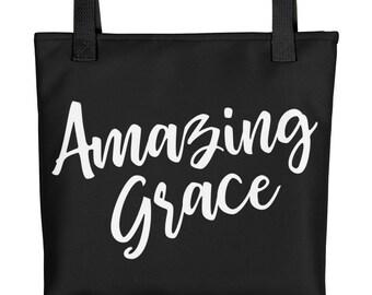 Amazing Grace Tote Bag | Religious Tote Bag | Scripture Tote Bag | Bible Bag | Christian Tote Bag