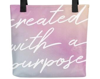 Inspirational Tote bag: Created with a Purpose   Christian Tote Bag   Scripture Tote Bag   Bible Bag   Watercolor Tote Bag