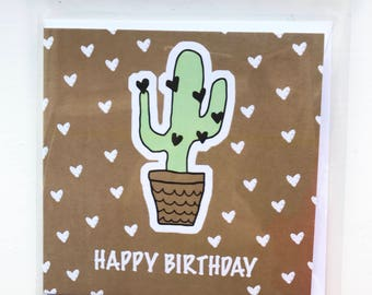 Cactus love heart birthday card