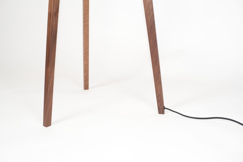 The Trio Walnut and Brass Tripod Floor Lamp