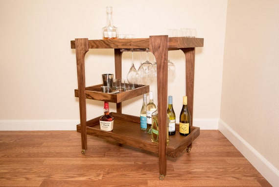 Bar Cart Serving Cart Mid Century Cart Wine Rack Tea Etsy