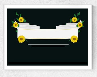 Sunflower Banner  //  Bright Beautiful Yellow Flowers Green Leaves Banner Personalize Black Background DIY Printable Floral Graphic Design