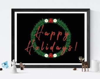 Holiday Wreath  //  Christmas Festive Happy Green Leaves Ivy Red White Flowers Decorations Sign Personalize Family Love Warmth Cheer Digital