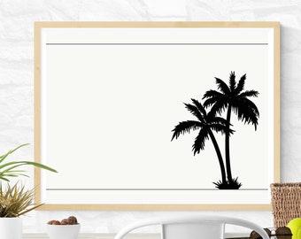 Island Shadows  //  Palm Tree Beach Ocean Tropical Black White Desert Frame Stationery Customize Personalize Shore Art Vacation Postcard