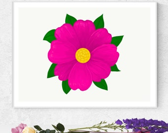Pink Love Flower  //  Beautiful Detailed One Of A Kind Pink Yellow Flower Green Leaves Personalize Gallery Wall Art DIY Printable Beauty Fun