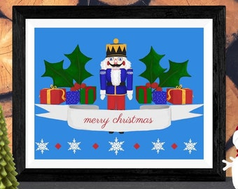 Nutcracker Christmas  //  Snowflakes Holiday Card Very Merry White Banner Blue Gifts Festive Decor Fun Holly Custom Presents Digital Art