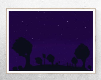 Starry Hill  //  Twilight Stars Home Gallery Digital Art Decor Magic Hour Unique Blue Darkness Countryside Beautiful Gift Tree One Of A Kind