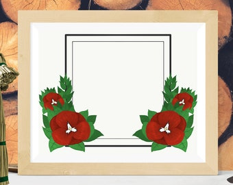 Flower Frame, Red  //  Floral Christmas Square Save The Date Hand-drawn Announcement Wedding Invitation Christmas Digital Art Green Black