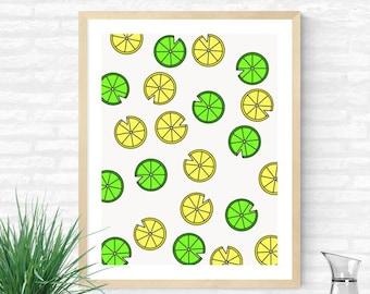 Life Gives You Lemons & Limes  //  Fresh Fruit Citrus Accents Drink Accouterments Graphic Design Freshen Up Flavor Art Decor Refresh Gift