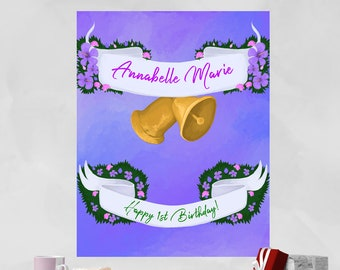 Floral Banner and Bells  //  Garden Party Baby Announcement Christening Wedding Celebration Engagement Purple Green Unique Personal Birthday