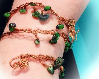 Dragonfly bracelet-Crystal bracelet-The dragonfly-Wrap bracelet-Copper bracelet-Crystal Jewelry-Healing crystal jewelry-healing stone-gift