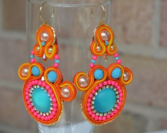 Bubble Gum Soutache Earrings