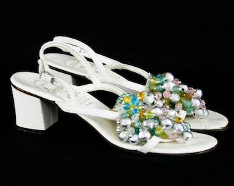 7eeb803737 Vintage 1960's Amalfi Rangoni White Leather Heels - Colorful Beaded Baubles  - Strappy Slingback Sandal Sparkle Shoes - EU 37 - US 6 N - UK 4