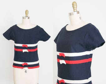 bb505637291892 Vintage 1970s Striped Short Sleeve Blouse - Scoop Neck - Bow - Navy Blue,  Red & White - Nautical - Small / Medium - Ready To Wear
