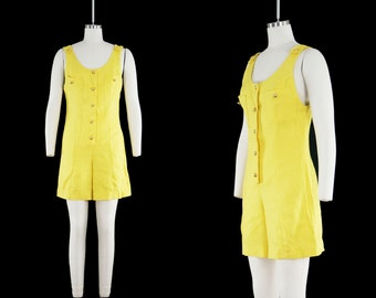 Vintage 1960s Yellow Romper - Linen Cotton - Play Suit - Jumpsuit - One Piece - Button Front - Gold Buttons - Womens Small Medium