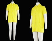 Vintage 1960s Catalina Terry Cloth Cover Up - Sunny Yellow - Short Sleeve - Button Up - Mod Shift Dress - Swimwear - Pockets - Medium