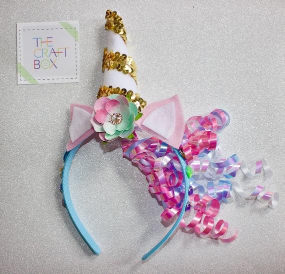 The Unicorn Headband Craft Kit Arts And Crafts For Kids Crafts For Kids Diy Craft Kids Party Favors Unicorn Party