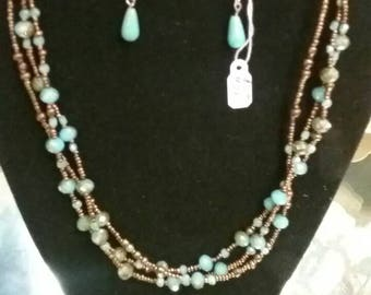 Blue and bronze beaded necklace Multistrand necklace Fashion necklace Blue necklace