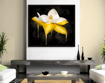 Gold Dipped Flower Canvas Wall Decor