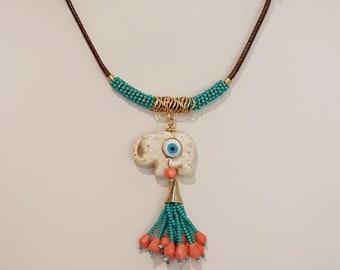 Elephant Necklace, Elephant Tassel Necklace, Elephant Cord Necklace, Short Cord Elephant Necklace, Evil Eyes  Elephant Necklace, Bohemian