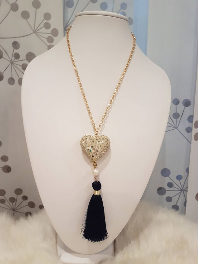 Heart and Tassel  Necklace Boho Jewelry.