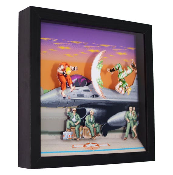 Super Street Fighter 2 Guile Stage 3d Shadow Box 9 Etsy