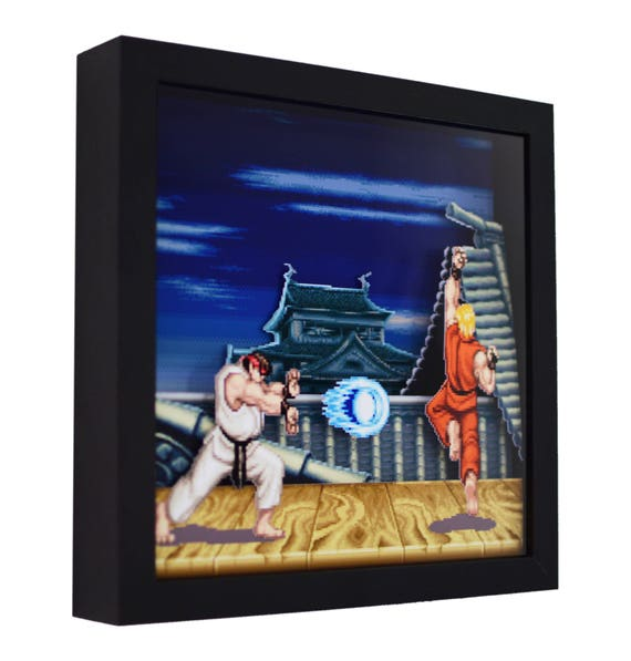 Super Street Fighter 2 Ryu Stage 3d Shadow Box 9 X Etsy