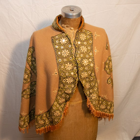 Vintage 1970s Embroidered Cape