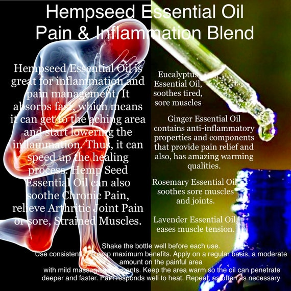 Hempseed Essential Oil Inflammation And Pain Blend 10ml Etsy