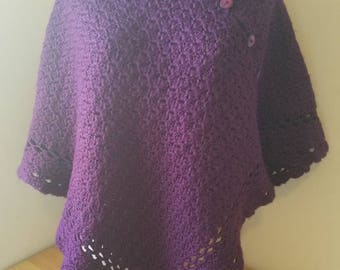 Purple Crocheted Poncho