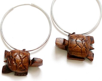 Mandala Turtle Exotic Red Heart Wood Earrings
