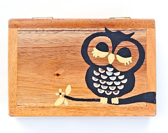 941abac776 Owl jewelry box made of wood. Mahogany jewelry box with hand-painted owl.  Owl storage organizer jewelry box. Wooden box jewelry box.