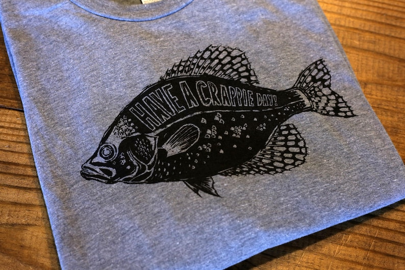 Have A Crappie Day Funny Fishing Shirt T-Shirt or Hoodie Heather Gray  Smiling Snake Shirt Company Oakwood Illinois fisherman panfish bass