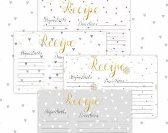 Recipe Cards, Printable-Set of 4