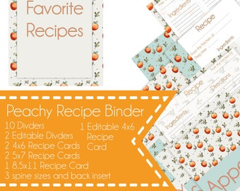 Peach and Mint Recipe Binder kit, Printable Recipe kit, Editable Recipe binder, Instant download