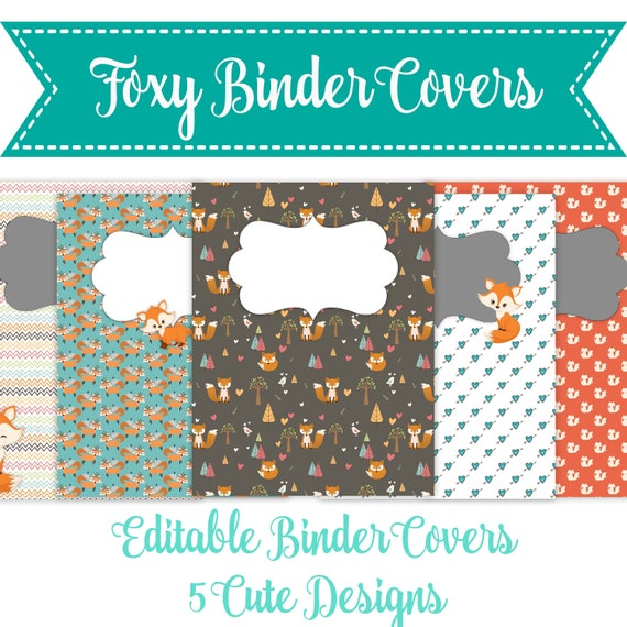 Printable Binder Covers Foxy Binder Covers Instant