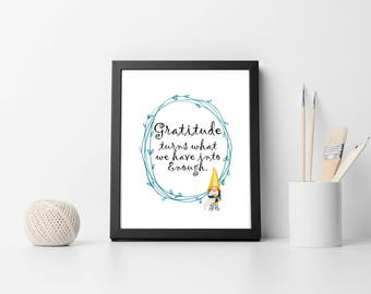 """Printable Quote """"Gratitude"""" Thanksgiving quote Instant Download"""
