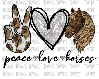 Peace Love Horse HTV TransferDigital Laser TransferHorse Vinyl TransferTShirt Transfers