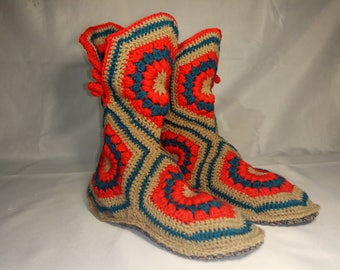 Home Slippers, Crochet Boots, Knitted Slippers, Warm Slippers, House Shoes, Holiday gifts, Handmade Shoes, Indoor slippers, Custom Size.