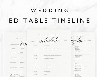 wedding timeline template minimal bridal wedding day schedule tasks list packing list printable editable word document emilie suite