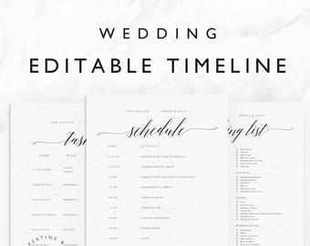 Wedding Timeline Template Minimal Bridal Day Schedule Tasks List Packing Printable Editable Word Document Emilie Suite