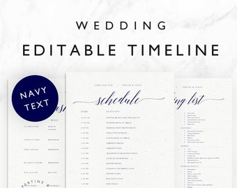 Wedding Timeline Template Minimal Bridal Wedding Day Etsy