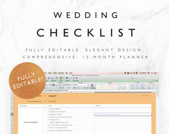 wedding guest list planner and guest list tracker excel etsy