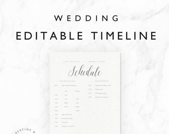 wedding timeline template bridal wedding day schedule tasks etsy