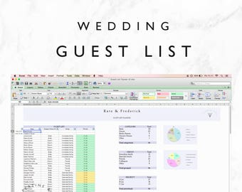 wedding contact list template excel spreadsheet printable etsy