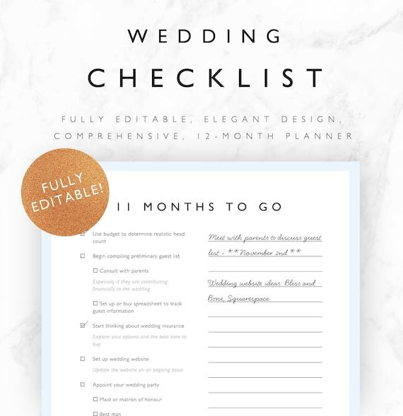 editable wedding checklist 12 month wedding planner etsy